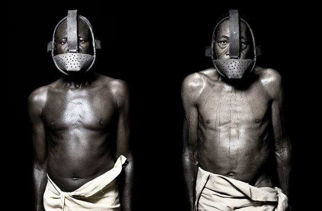 Male slaves wearing face masks
