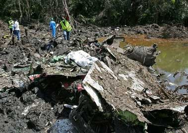 debriles of plane crash in mbanga pongo, littoral region of cameroon