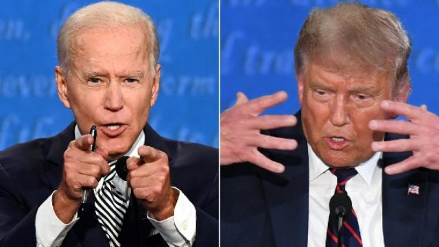 President Trump and Opponent Biden in a Presidential Debate