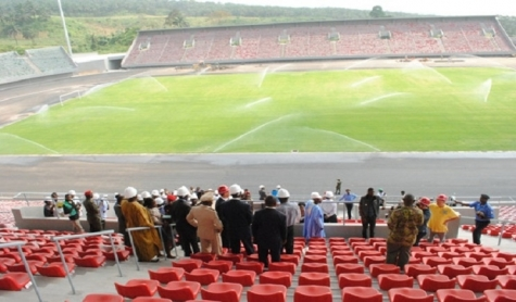 Cameroon's Minister of Sports and Physical Education, Narcisse Mouelle Kombi  visits Limbe stadium
