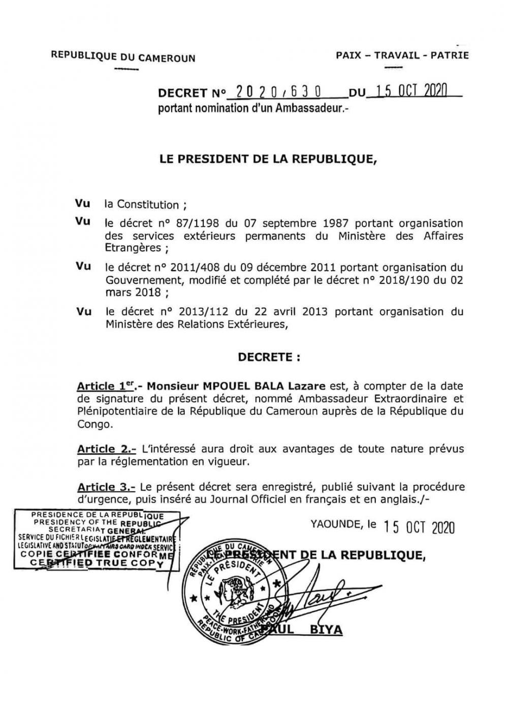 Lazare Mpouel Bala becomes New Cameroonian Ambassador to Congo