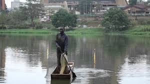 Fisherman in the Yaounde Municipal Lake