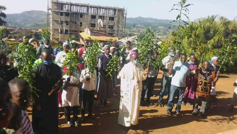 Bishop of Kumbo Diocese lead christians in a peaceful walk and holy mass for return to peace
