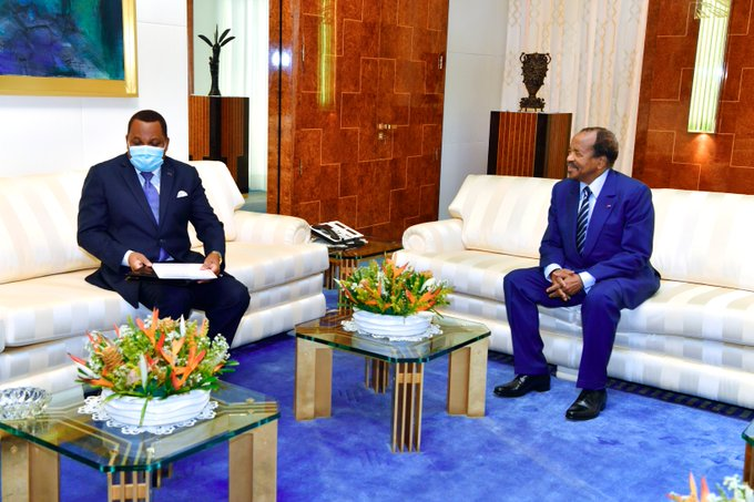 Jean Claude Gakosso - Congo-Brazzaville`s Minister of Foreign Affairs in an audience with  President Paul Biya