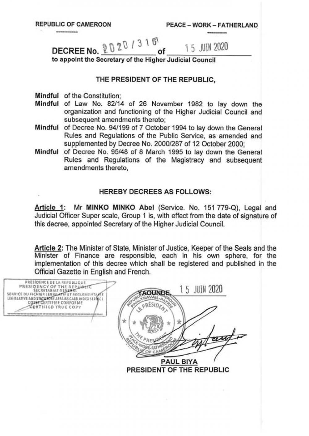 Abel Minko Minko appointment