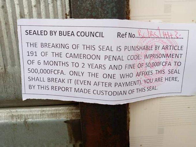 David Mafani Namange sealing shops in Buea