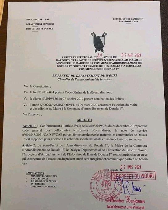 Communique from Douala 1 SDO