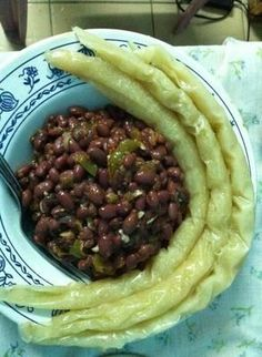 A Plate of beans and Bobolo